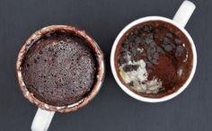 three chocolate brownie mug cake