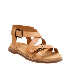 Corsio Bambi Light Tan Leather womens-flat-sandals  |  Clarks
