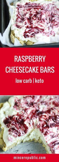 Raspberry Cheesecake Bars Recipe | Low carb, ketogenic friendly | #lowcarb #keto | mincerepublic.com