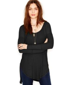 Free People Scoop-Neck High-Low Thermal Tunic rayon/spandex black szS 68.00