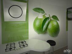 Бело-зеленая кухня: интерьер, квартира, дом, кухня, современный, модернизм, 0 - 10 м2 #interiordesign #apartment #house #kitchen #cuisine #table #cookroom #modern #010m2 arXip.com