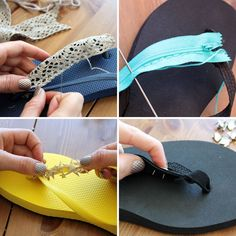 Flip flops are absolutely essential for summer, but sometimes they are downright boring. The fancy ones hurt your feet and the comfy o Mens Flip Flops, Beach Flip Flops, Flip Flop Shoes, Diy Embroidery Thread, Shower Shoes, Make Your Own Clothes, Latest Shoe Trends, Crochet Shoes, Diy Clothing