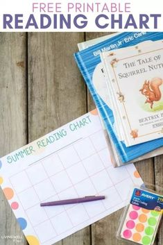 Encourage kids to read with this fun free printable summer reading chart - helps incentive kids by tracking progress with a reward goal! #reading #freeprintable