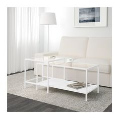 VITTSJÖ Nesting tables, set of 2, white, glass white/glass 35 3/8x19 5/8