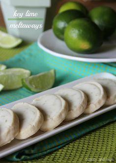 Key Lime Meltaway Cookies - super easy to veganize! Key Lime Cookies, Lime Recipes, Sweet Recipes, Yummy Recipes, Köstliche Desserts, Dessert Recipes, Dessert Ideas, Lunch Recipes, Macarons