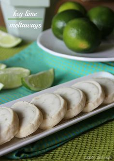 Key lime meltaway shortbread cookies-    Cookies      1 1/2 cups flour      1/2 cup powdered sugar      1/2 cup cornstarch      1/2 tsp salt      1 cup butter, room temperature      1 1/2 Tbsp Key Lime Juice      Glaze      1 1/4 cups powdered sugar      1 tsp lime zest      3 Tbsp Key Lime juice  oven  350°, Bake for 9-10 minutes until cookies are set and edges just start to brown.