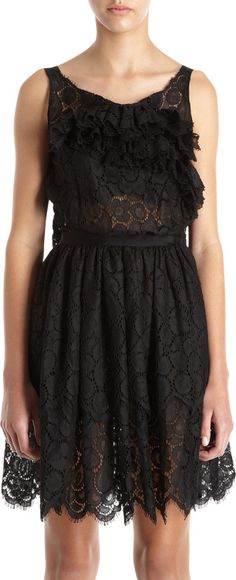 Nina Ricci Lace Ruffle Front Tier Dress Sale up to 70% off at Barneyswarehouse.com