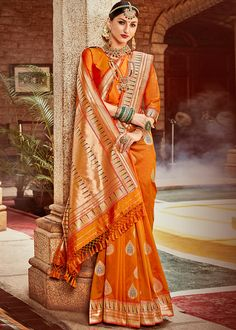 Product Features: Color: Orange Fabric: Art Silk Blouse Color: Orange Saree Length: Meters Blouse Length: Meters Type Of Work: Weaving Disclaimer: Color and Texture may have slight variation due to photography Indian Designer Sarees, Indian Sarees Online, Art Silk Sarees, Georgette Sarees, Ethnic Dress, Indian Ethnic Wear, Reception Sarees, Orange Saree, Orange Blouse