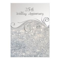 Shop Sparkle Silver Wedding Anniversary Invitation created by SpiceTree_Weddings. Personalize it with photos & text or purchase as is! 7th Wedding Anniversary, Wedding Anniversary Invitations, Silver Anniversary, Anniversary Cards, Anniversary Ideas, Card Invitation, Custom Invitations, Invitations Online, Invites