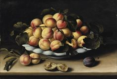 Women Painters, Louise Moillon (French, 1610 - 1696): Still Life with a Bowl of Apricots, Peaches and Plums on an Entablature (via Sotheby's)