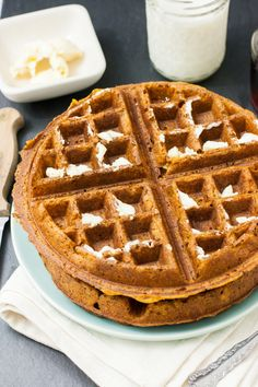 I LOVE these Vegan Pumpkin waffles! They're even better with sweet potato. They're really easy to make and taste like pumpkin pie in a waffle.