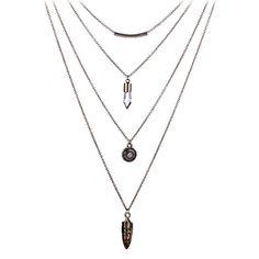 New Fashion Gold Double Chain Multilayer Necklace Hexagonal Column Choker Collar Necklace Natural Quartz Pendant Gift for Women