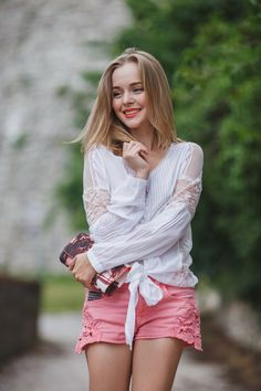 Pink shorts + white top