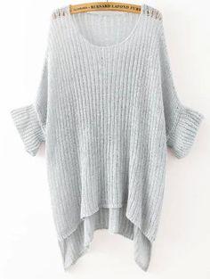 Shop Grey Round Neck Split Loose Knit Sweater online. SheIn offers Grey Round…