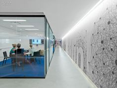 Hallway: The Creative Class: 4 Manhattan Tech and Media Offices Corporate Interior Design, Corporate Interiors, Office Interiors, Interior Office, Interior Doors, Commercial Design, Commercial Interiors, Design Corporativo, Wall Design
