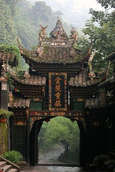 Temple gate, Chengdu, China