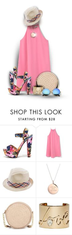 """""""Floral Heels"""" by amymrbll ❤ liked on Polyvore featuring Trilogy, My Delicious, MANGO, San Diego Hat Co., Kate Spade, Neiman Marcus and Lanvin"""