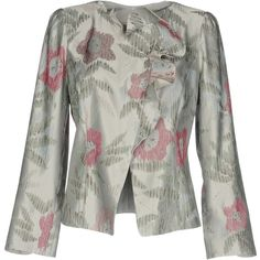 Armani Collezioni Blazer (£234) ❤ liked on Polyvore featuring outerwear, jackets, blazers, light grey, floral print jacket, floral blazer jacket, light gray blazer, long sleeve jacket and floral-print blazers