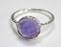 Solid 925 sterling silver genuine AMETHYST ring.