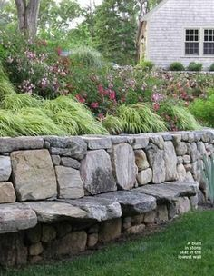Have a seat...very cool for the retaining wall in your garden or yard | For the Garden | InteriorDesignPro #outdoordiyseating