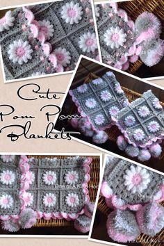 Beautiful ,handmade ,Crochet Daisy PomPom Baby Blanket