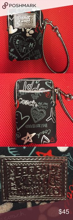 Discontinued Coach Poppy Phone Wristlet/Wallet Super cute phone wristlet with Coach's poppy design! Like new without the box. There are slots for cards and enough room for an iPhone or a phone similar in size. *Will not fit the iPhone Plus phones* Coach Bags Clutches & Wristlets