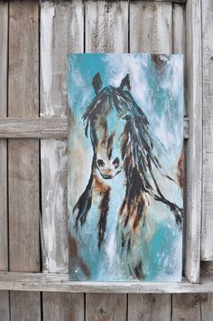 Abstract Contemporary Western Horse Art in turquoise and black beautiful modern original painting Cowboy Western art