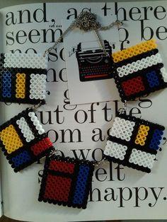 Piet Mondrian inspired statement necklace made by coffeeANDpaper