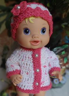 Crochet Hat Sweater Baby Alive Princess or by dollcrochetboutique