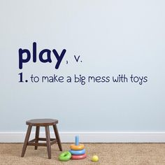 Play Definition - Playroom Vinyl Wall Decal Vinyl Lettering Wall Words Decal Kids Room Decor Vinyl Wall Art