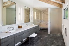 3/4 and Master Bathroom Design Ideas, Pictures, Remodel & Decor with a Corner Shower, a Curbless Shower, an Open Shower, an Integrated Sink, an Undermount Sink, Ceramic Tile, Glass Tile, Porcelain Tile, Stone Slab, Stone Tile, Subway Tile and a One-Piece Toilet