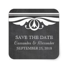 Ivory Deco Chalkboard Save the Date Stickers