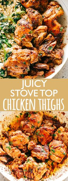 Juicy Stove Top Chicken Thighs - Perfectly golden, tender, and juicy skinless and boneless chicken thighs prepared on the stove top.& delicious pan seared chicken thighs make for a wonderful meal that& surprisingly easy, and the pan sauce is amazing! Stove Top Chicken Thighs, Pan Seared Chicken Thighs, Chicken Thighs Dinner, Chicken On Stove Top, Cooking Chicken Thighs, Chicken Thigh Stew, Chicken Thigh Casserole, Chicken Thigh Marinade, Easy Chicken Thigh Recipes