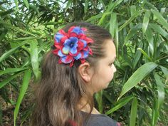 4th of July flower barrette, red and blue flower barrette. $5.00