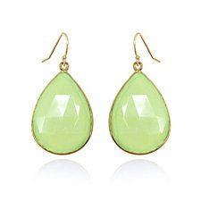 Green Chalcedony Dangle Teardrop Gold Earrings - Gemstone Bezel Gold Earrings