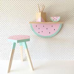 Watermelon..watermelon..I love you love watermelon! FUN FUN FUN new collection from @thetimbatrend. That shelf is brilliant  #kidsplayroom #kidsstools #kidsstorage #kidsbedroom #kidsdecor by sheshops4girls