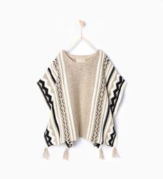 Jacquard knit poncho-Cardigans and Sweaters-Girl   4-14 years-KIDS   ZARA Turkey
