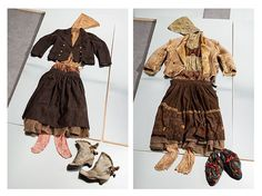 Printed wool skirt suit, printed jersey hooded tops and leggings, fibreglass underskirt and square-toe suede boots, Shearling jacket, satin bra, cotton skirt, fibreglass underskirt and embroidered boots, V Westwood Nostalgia of Mud collection AW82