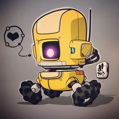 """#BOTOBER 13-010 'Lil Roami"""" ExplorerBot Available in yellow, red, grey and black. Order yours today! #robotsalldaylong #creativelife"""