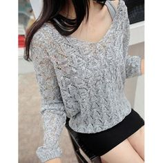 V-Neck Hollow Out Long Sleeve Sweater