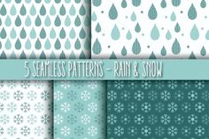 5 Seamless Patterns - Rain & Snow by Blue Lela Illustrations on Creative Market