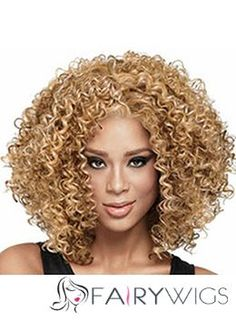 Hand Knitted Medium Curly Blonde African American Lace Wigs for Women
