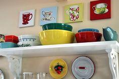 kitchen shelf decor: mug art