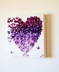 Púrpura mariposa clásico corazón de Ombre 3D mariposa arte de