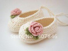 Crochet bébé ballet shoes chaussures bébé marcheur premier feuilles fleur de fils de coton 14pairs/lot mix design personnalisé