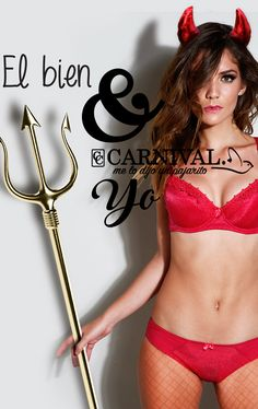 CARNIVAL LENCERIA >Diablita coordinado rojo, atuendo para día de halloween. www.carnival-lenceria.com.mx