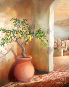 Landscape canvas print featuring the painting tuscan lemon tree by michael rock Tree Canvas, Canvas Art, Canvas Prints, Canvas Size, Shades Of Peach, Peach And Green, Peach Blossoms, World Of Color, Peach Colors