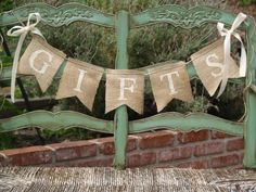 GIFTS burlap banner Wedding Banner Gifts Sign by butterflyabove