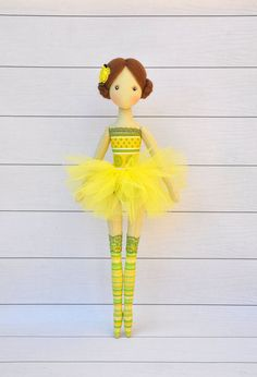 ballerina Doll, Textile doll, decorative doll,collectible dolls , doll cotton, rag doll