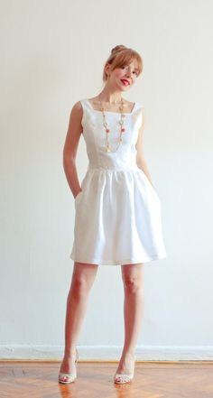 Low Back White Linen Dress with Pockets  Perfect Fit by LanaStepul, $189.00